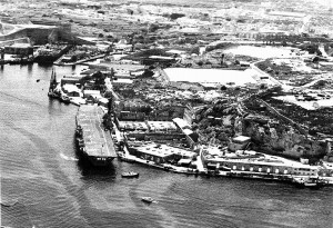 11. 27th November 1972 HMS ARK ROYAL AT PARLATORIO WHARF A GENERAL VIEW OF THE AREA AND SPORTS GROUNDS