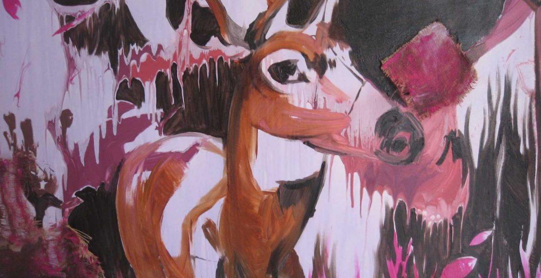 Frozen in time, Acrylics, artist, Maltese, art, artwork, deer, Christine X