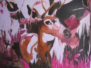 Frozen in time, Acrylics, artist, Maltese, art, artwork, deer, Christine X