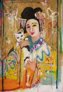 Geisha with Cat, mixed medium on canvas, Selina Scerri
